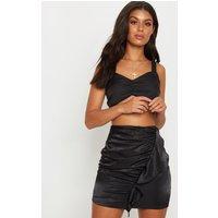 Black Satin Frill Detail Mini Skirt