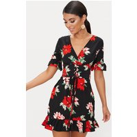 Black Corset Floral Swing Dress