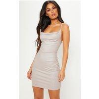 Silver Glitter Foil Rib Cowl Bodycon Dress