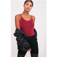 Basic Oxblood Bodysuit, Red
