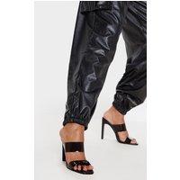Black Flat Heel Twin Strap Mule Sandal