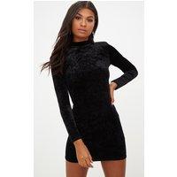 Black High Neck Velvet Bodycon Dress