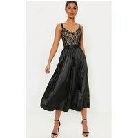 Black Lace Top Pleated Skirt Midi Dress