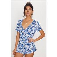 Blue Floral Short Sleeve Button Through Playsuit