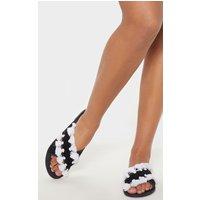 Black Cross Strap Tassel Mule Sandal