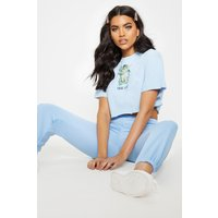 Baby Blue True Love Slogan Crop T Shirt