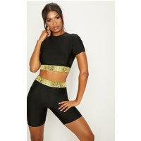 Black Short Sleeve Gym Top With Snake Hem