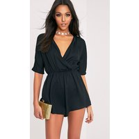 Bobby Black Wrap Front Playsuit