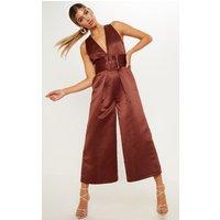 Chocolate Satin Belt Culotte Jumpsuit