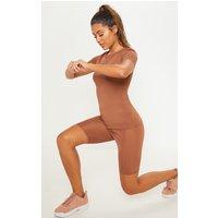 Brown Basic Short Sleeve Gym Top