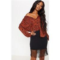 Black Asymmetric Fringe Mini Skirt