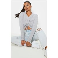 Grey Ruched Crop Knitted Jumper