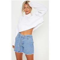 Light Blue Wash Paperbag Shorts