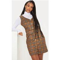 Brown Check Print Button Front Plunge Mini Dress