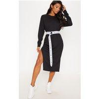 Black Oversized Side Split Midi Jumper Dress