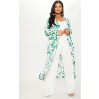 Plus Green Floral Longline Duster Jacket