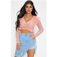Image of Petite Dusty Pink Peplum Lace Frill Detail Deep V Neck Blouse, Dusty Pink