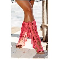 Baby Pink Fringe Lace Up Sandal
