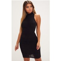 Black High Neck Sleeveless Ruched Slinky Bodycon Dress