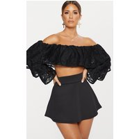 Black Scuba Flippy Mini Skirt