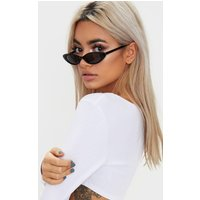 Black Matte Thin Retro Sunglasses