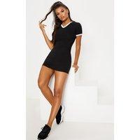 Black Contrast Trim V Neck T Shirt Dress