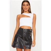 Black Faux Leather Buckle Detail Mini Skirt
