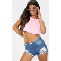 Baby Pink Faux Fur Sleeveless Crop Top