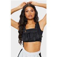 Black Nylon Double Pocket Front Harness Bag