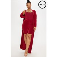 Plus Burgundy Slinky Duster Jacket