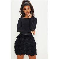 Black Tiered Feather Mini Skirt