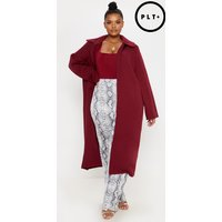 Plus Burgundy Longline Duster Coat