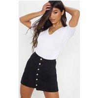 Black Cammie Denim Mini Skirt
