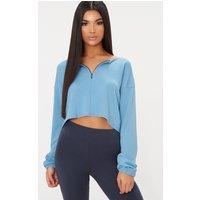 Dusky Blue Zip Front Sweater