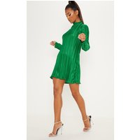 Green High Neck Plisse Swing Dress