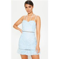 Baby Blue Strappy Lace Tie Front Bodycon Dress