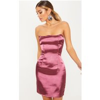 Aubergine Satin Wired Bandeau Bodycon Dress