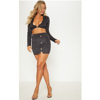 Black Faux Suede Button Detail Mini Skirt