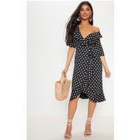 Black Heart Print Frill Detail Wrap Midi Dress