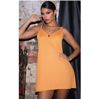 Orange Strappy Detail Swing Dress