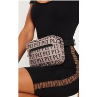 Prettylittlething Brown Monogram Bum Bag
