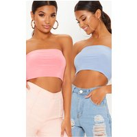 Baby Pink/baby Blue 2 Pack Slinky Bandeau Crop Top