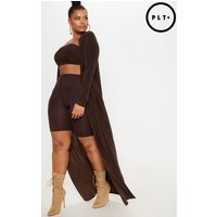 Plus Chocolate Brown Slinky Duster Jacket