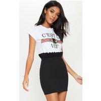 Black Gathered Waist Detail Mini Skirt