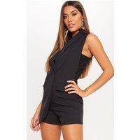 Black Lace Detail Waistcoat Playsuit