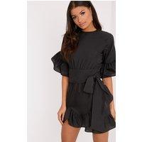 Black Frill Detail Mini Dress