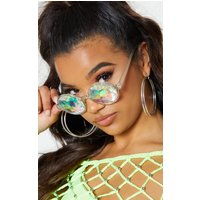 Clear Iridescent Faceted Glasses