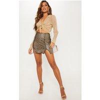 Black Glitter Embellished Split Hem Mini Skirt