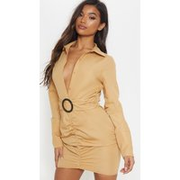 Camel Plunge Ruched Tortoise Belted Bodycon Shirt Dress