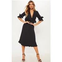 Black Frill Detail Pleated Midi Dress